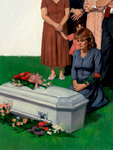 Woman Grieves at a Child's Casket