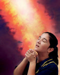 Woman Prays in Presence of Fire of God