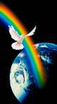 Dove and Rainbow over Earth