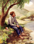 Boy Sitting Beside Stream Watching Sky