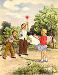 Children With Pinwheels In Wind