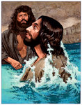 Jesus Looks Up After Being Baptized